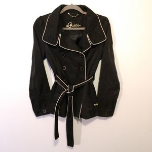 Ellegant Black Gold Trimmed Guess Rain Jacket